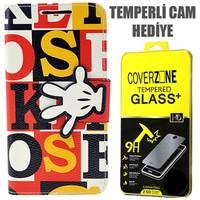 CoverZone HTC Desire 816 Kılıf Kurdaleli Hand Kapaklı + Temperli Cam