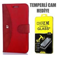 CoverZone Samsung Galaxy E7 Kılıf Delüks Cüzdan Kırmızı + Temperli Cam