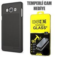 CoverZone Verus Samsung Galaxy A7 Kılıf Slim Dot Series Dark Silver + Temperli Cam