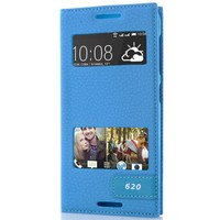 CoverZone HTC Desire 620 Kılıf Kapaklı Çift Pencereli Saphire Mavi