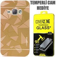 CoverZone Samsung Galaxy A7 Kılıf Metalik Sert Arka Kapak Prizma Desen Gold + Temperli Cam
