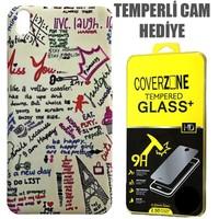 CoverZone HTC Desire 816 Kılıf Resimli Sert Arka Kapak Miss You + Temperli Cam