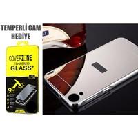 CoverZone HTC Desire 816 Kılıf Aynalı Arka Kapak + Temperli Cam