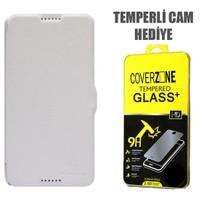 CoverZone Nillkin HTC Desire 816 Kılıf Kapaklı Beyaz + Temperli Cam