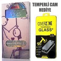CoverZone Samsung Galaxy E7 Kılıf Çift Pencereli Resimli Couple + Temperli Cam