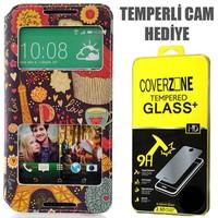 CoverZone HTC Desire 816 Kılıf Cüzdan Kapaklı Resimli Pencereli Paris In Love + Temperli Cam