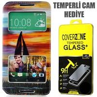 CoverZone HTC Desire 816 Kılıf Cüzdan Kapaklı Resimli Pencereli Yelkenli + Temperli Cam