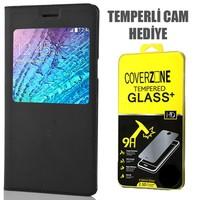 CoverZone Samsung Galaxy E5 Kılıf Flip Cover Siyah + Temperli Cam