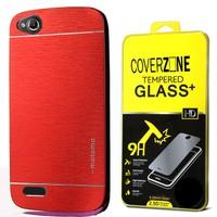 CoverZone General Mobile Discovery Kılıf Metalik Sert Arka Kapak Kırmızı + Temperli Cam