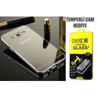 CoverZone Samsung Galaxy A7 Kılıf Aynalı Kapak + Temperli Cam