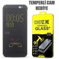 CoverZone HTC Desire 620 Kılıf Dot View Kapaklı Siyah + Temperli Cam