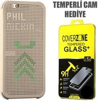 CoverZone HTC Desire 620 Kılıf Dot View Kapaklı Gold + Temperli Cam