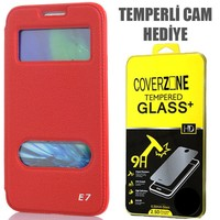 CoverZone Samsung Galaxy E7 Kılıf Kapaklı Çift Pencereli Merry Model Kırmızı + Temperli Cam