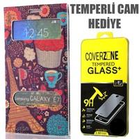 CoverZone Samsung Galaxy E7 Kılıf Çift Pencereli Resimli Paris In Love + Temperli Cam