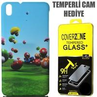 CoverZone HTC Desire 816 Kılıf Resimli Sert Arka Kapak Renkli Mantarlar + Temperli Cam