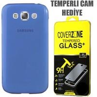 CoverZone Samsung Galaxy E7 Kılıf 0.3mm İnce Silikon Mavi + Temperli Cam