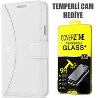 CoverZone Samsung Galaxy E5 Kılıf Delüks Cüzdan Kapaklı Beyaz + Temperli Cam