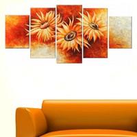 Tictac Design 5 Parçalı Kanvas Tablo Çiçekler