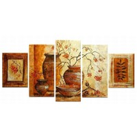 Tictac Design 5 Parçalı Kanvas Tablo Vazoda Çiçekler