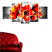 Tictac Design 5 Parçalı Kanvas Tablo Turuncu Çiçekler