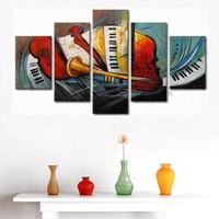 Tictac Design 5 Parçalı Kanvas Tablo Müzikal