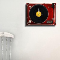 Tictac Design LP Plaklı Kanvas Tablo Saat - Red
