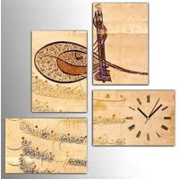 Tictac Design 4 Parça Kanvas Tablo Saat (4x25x38) Arapça