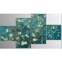 Tictac Design 4 Parçalı Tablo Saat - Van Gogh Badem Çiçekleri