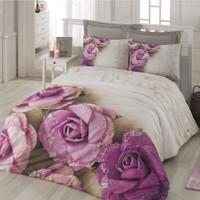 Cotton Box Floral 3D Nevresim Takımı Lorella Lila