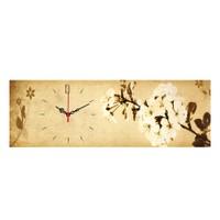 Decostil Beyaz Çiçek Kanvas Saat - 30 x 90 cm