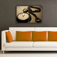 Decostil 2 Parçalı Kanvas Saat Köstekli Saat
