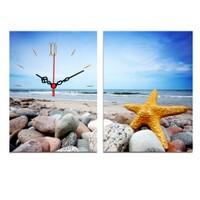 Decostil 2 Parçalı Kanvas Saat Deniz Yıldızı ve Taşlar