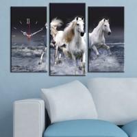 Decostil Beyaz Atlar 3 Parça Kanvas Saat