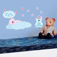 Modelce Uykucu Ayılar Duvar Sticker - Priz Sticker Hediyeli