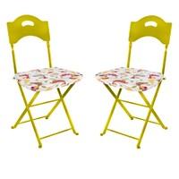 Aliz 2 li Sandalye Minderi - Kırmızı Kuşlum