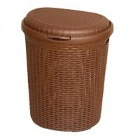 Atadan İstridye Çamaşır Kirli Sepeti Plastik Raddan Büyük Boy Koyu Kahverengi