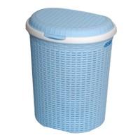 Atadan İstridye Çamaşır Kirli Sepeti Plastik Raddan Büyük Boy Açık Mavi