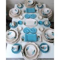 Keramika 49 Parça 6 Kişilik Turkuaz Gül Yemek Ve Kahvaltı Takımı