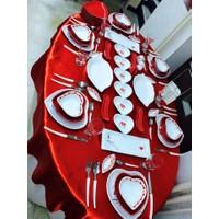 Keramika 77 Parça 6 Kişilik Red Love Yemek Ve Kahvaltı Takımı