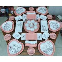 Keramika 50 Parça 6 Kişilik Peri Masalı Kahvaltı Takımı