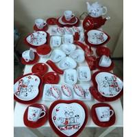 Keramika 55 Parça 6 Kişilik Peri Masalı Kahvaltı Takımı