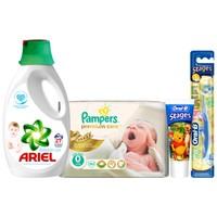 Prima Bebek Bezi Minik Şampiyon Paketi 0 Beden (Prima Premium Care 0 beden 30 Adet+ Ariel Baby Sıvı + Oral-B Çocuk Diş Fırçası + Diş Macunu)