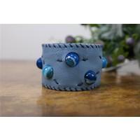 Onka Tasarım Mavi Akik Taşlı Buz Mavisi Deri Bileklik