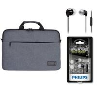 """Port Belize 15.6"""" Gri Notebook Çantası 110201 + Philips SHE3595 Kulakiçi Kulaklık"""