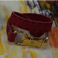 Onka Tasarım Kırmızı Renkli Çift Dolama Deri Bikelik