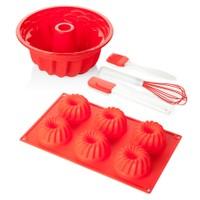 Biev 5 Parça Silikon Kek Seti Kırmızı