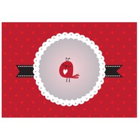 Cushion Design 4 lü Little Bird Amerikan Servis - Kırmızı
