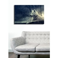 TabloModern Beyaz Kurt Kanvas Tablo 45x70 cm