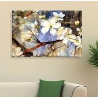 Arse Beyaz Açan Çiçek Dekoratif Kanvas Tablo -50x70 cm