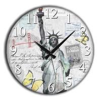 Frank Ray 60 cm MDF Wall Clock Özgürlük Heykeli
